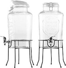 2er-Set Retro-Getränkespender aus Glas mit