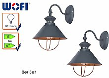 2er Set Retro Wandlampe FLORENCE, Grau, Ausladung 25cm, E27, Industrie-Look