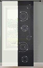 2er Set Schiebegardine Flächenvorhang Circle Strass Wildseide Optik und Voile Paneel, 245x60, Schwarz, 85625