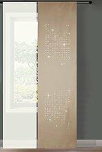 2er Set Schiebegardine Flächenvorhang Cube Strass Microsatin und Voile Paneel, 245x60, Sand, 85627