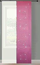 2er Set Schiebegardine Flächenvorhang Strass blickdicht und Voile Paneel transparent, 245x60, Pink Circle, 856250