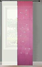 2er Set Schiebegardine Flächenvorhang Strass blickdicht und Voile Paneel transparent, 245x60, Pink Butterfly, 856250