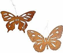 2er Set Schmetterling 20 x 15cm Metall Rost