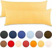2er Set Seitenschläferkissen Bezug 40x145 Kissenbezug Stillkissen-bezug, Jersey Qualität Kissenhüllen mit Reißverschluss 100% Mako-Baumwolle, Classic Line aqua-textil 0010095 creme-gelb