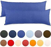 2er Set Seitenschläferkissen Bezug 40x145 Kissenbezug Stillkissen-bezug, Jersey Qualität Kissenhüllen mit Reißverschluss 100% Mako-Baumwolle, Classic Line aqua-textil 0010096 royal-blau