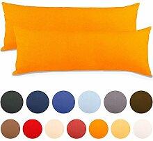 2er Set Seitenschläferkissen Bezug 40x145 Kissenbezug Stillkissen-bezug, Jersey Qualität Kissenhüllen mit Reißverschluss 100% Mako-Baumwolle, Classic Line aqua-textil 0010098 orange