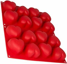 2er Set Silikonform mit Herz groß, Herzbackform,