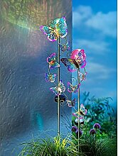 2er Set Solar-Gartenstecker Schmetterlingsschwarm