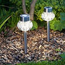 2er Set Solar Wegbeleuchtung perlweiß Solar Tischbeleuchtung Lights4fun