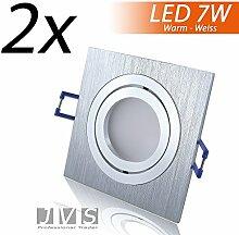 2er Set STAR SILBER Q 230V LED SMD 7W Warmweiss Decken Einbaustrahler Einbauspots Deckenspots (Aluminium-gebürstet) inkl. GU10 Fassung mit 15cm Anschlusskabel
