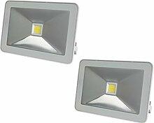 2er Set Strahler weiß mit 10W LED warmweiß,