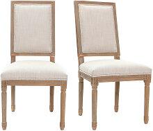 2er-Set Stühle mit naturfarbenem Stoff und hellen