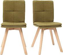 2er-Set Stühle skandinavisch grüner Stoff mit