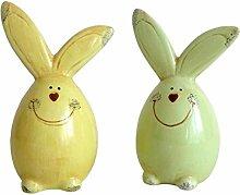 2er Set süße Hasen grün / gelb Osterdekoration Ostern Hase Frühling Dekoration