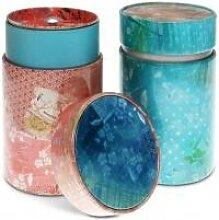 2er Set Teedosen Vintage, rosa + türkis, für je 150 g, rund, Eigenart (10,50 EUR / SET)