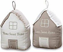 2er Set Türstopper Haus Baumwolle Beige Braun 20x10cm Home Sweet Home