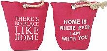 2er Set Türstopper in Pink mit Spruch aus Baumwolle - Türpuffer Türdämpfer Türhalter Kordel-Griff Metallösen Türsack Home
