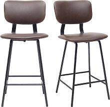 2er-Set Vintage-Barhocker Braun mit Beinen aus