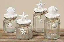 2er Set Vorratsdose Glasdose Vorratsglas Shell Muschel 5076100 (H22cm)