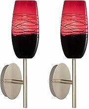 2er Set Wand Glas Lampen handgemacht Alu Innenraum Flur Leuchte rot schwarz IP20