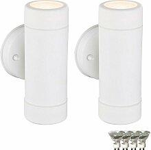 2er Set Wand Lampen weiß Energie Spar Up Down Außen Strahler GU10 im Set inkl. LED Leuchtmittel
