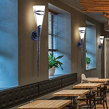 2er Set Wand Leuchten Landhaus Stil Fackel Glas