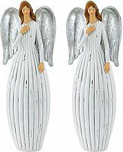 2er Set Weihnachts Engel Stand Figur Adventszeit