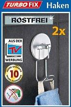 2er SET WENKO TurboFIX Handtuchhaken - Aluminum -