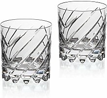"2er-Set Whiskeyglas, Whiskeybecher, Whiskystamper """"GERMAN ROULETTE - FRANKFURT"""" 225ml, transparent, Rotation, Bleikristall Glas (German Crystal powered by CRISTALICA)"