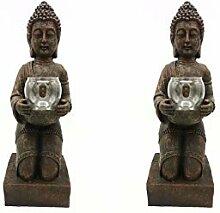 2er Set Windlicht-Figur Buddha XL - Teelichthalter