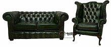 2er Sofa Chesterfield Queen Anne Sessel, Sofas Antik Grün (Wing Sofa Bieten