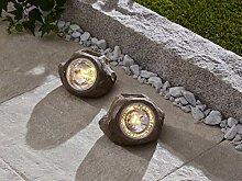 """2er Solar Stein """"Spot"""" Gartendeko LED Leuchte"""