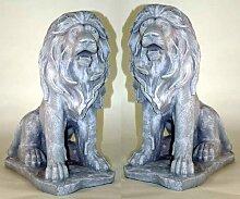 2er Sparset stolze Löwen je 50 cm im Granitfish Löwe Figur TOP