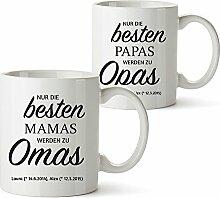 2er Tassen Set - Tasse Beförderung zur Oma und zum Opa – Geschenkideen Geburtstag Weihnachten für Opa und Oma - Personalisiert mit Namen – Oma und Opa Geschenke – Geschenk Idee