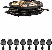 2in1 Raclette Grill Grillplatte Tischgrill Elektrogrill 8 Personen Crepes Maker (8 Pfännchen, 1200 Watt, Antihaft-Beschichtung, Party-Grill)