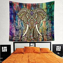 2pcs Bunte Elefanten Wandteppich Wandbehang