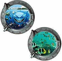 2PCS Fenster Ansicht Aufkleber Unterwasserwelt Aufkleber Wanddekoration Startseite Abziehbild