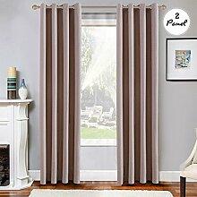 2pcs KINLO Blickdicht Gardine Ösen Verdunklungsvorhänge 140x260cm Beige Vorhang Verdunklung in Wohnzimmer Schlafzimmer aus Baumwolle