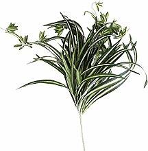 2pcs Künstliche Chlorophytum Glas Blätter Pflanzen Seide Bunt Grün Haufen - L