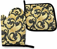 2PCS Ofenhandschuhe und Topflappen Goldene Tapete
