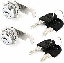 2set Home Reparatur Schrank Mail Box Vierteldrehung Metall Cam Lock w Keys