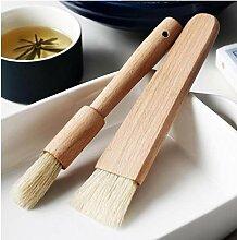 2ST Küche Öl Bürsten-Pinsel Holzgriff Grill