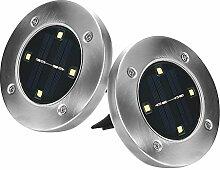 2st. LED Solarbetriebene Bodeneinbauleuchte kabellos große Solarleuchte Außenleuchte Wasserdicht 4 LED 100LM Pfad Garten Landschaft Spike Beleuchtung für Hof Auffahrt Rasen Warm Weiß Lichtfarbe