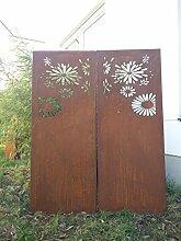 2st.symmetrisch Garten Sichtschutz aus Metall Rost