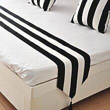 2ST Tang Moine Einfaches Schwarz-Weiß-Flag Bett Tischläufer Bettdecken Stoff Matratze Im Europäischen Stil,33x200cm