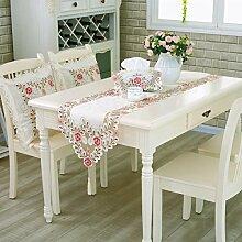 2ST Tang Moine Handgemachte Natürlich Blumen Vintage Tischläufer Dresser Bestickt Läufer Wandteppich ,A-40*150cm