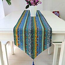 2ST Tang Moine Südostasiatischen Stil Amerikanische Baumwolle Und Leinen Tischläufer Tisch Tipping Stripes Flagge Flagge Bett Hotels Restaurants Flagge Tee,Blue-32*220cm