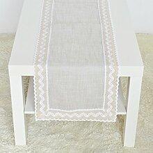 2ST Tang Moine Tischläufer Natürlicher Wind Modern Zu Hause Weiches Bett Mit Fahnen Geschmückt Sofa Handtuch,Beige-35*180cm