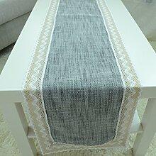 2ST Tang Moine Tischläufer Natürlicher Wind Modern Zu Hause Weiches Bett Mit Fahnen Geschmückt Sofa Handtuch,Grey-40*180cm