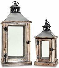 2tlg. Laternen-Set aus Holz, Metall und Glas - Windlicht Farbe natur braun -Kerzenhalter Holzlaterne Gartenlaterne Gartenbeleuchtung Dekoration Vintage Shabby Antik